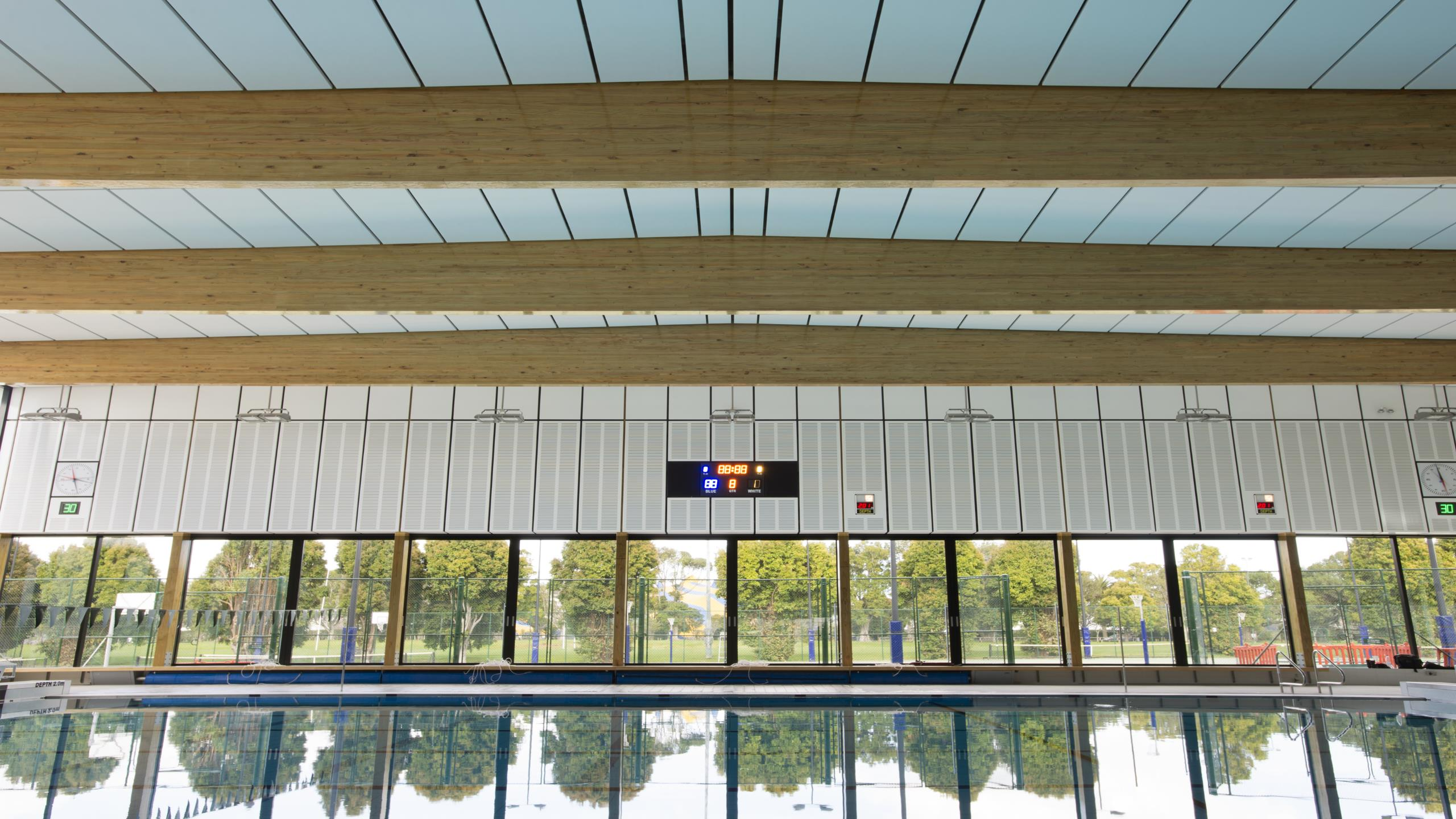 St Cuthberts Girls School swimming pool complex ceiling showing Triton Cloud pool panels installed